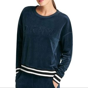 DKNY SPORT Velour Activewear Sweater Large Blue